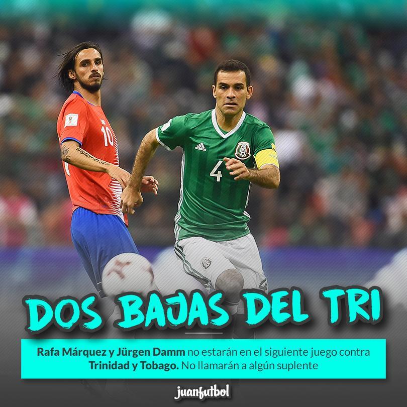 Rafa Márquez y Damm no estarán con el Tri