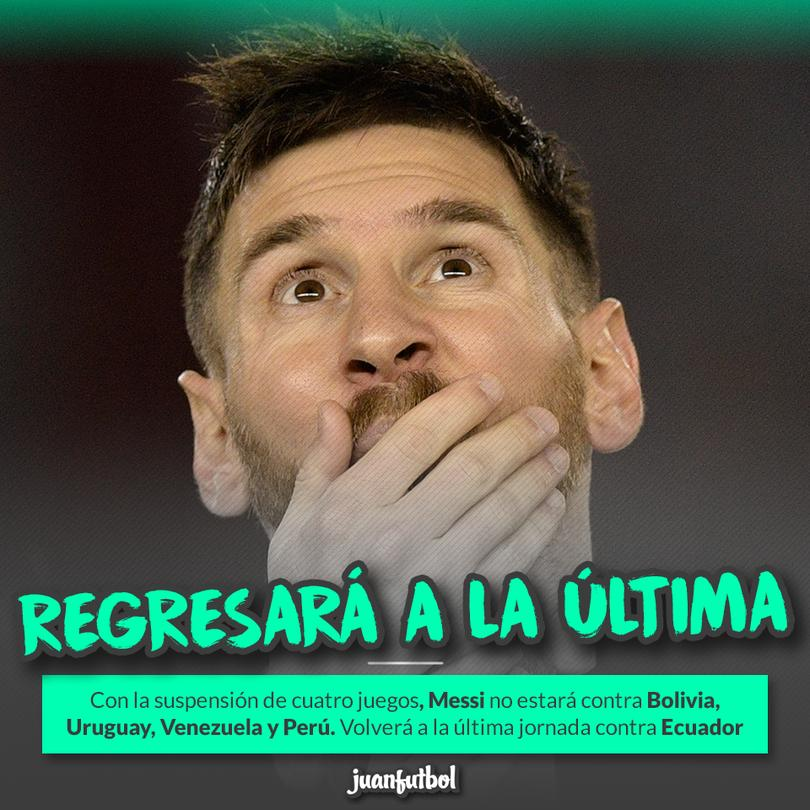 Lionel Messi se perderá cuatro partidos