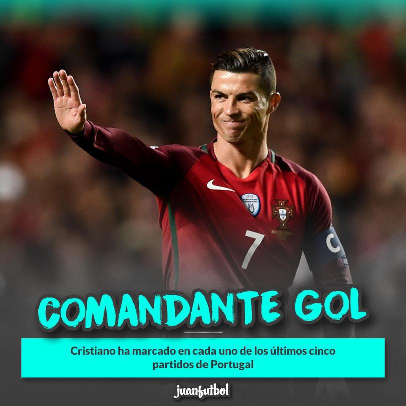 Cristiano se ha cansado de meter goles con Portugal; lleva cinco partidos seguidos marcando