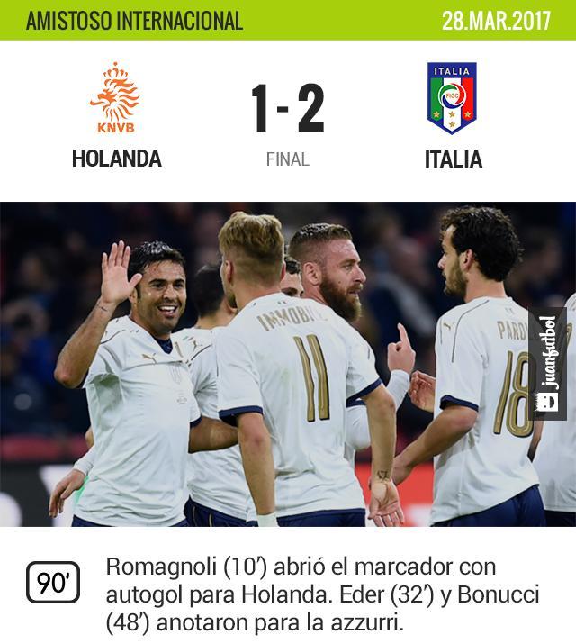 Italia le gana a Holanda en encuentro amistoso.