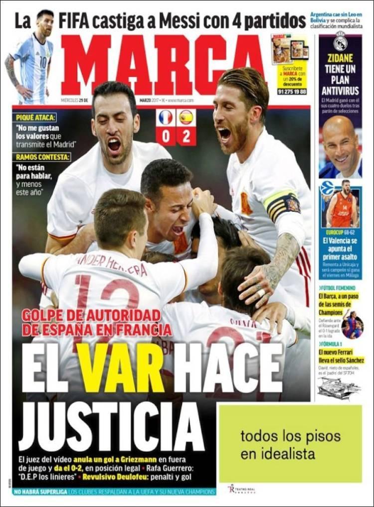 La prensa deportiva más importante del 29 de marzo de 2017.