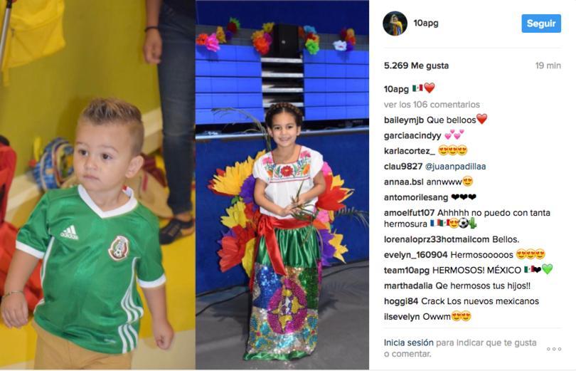 En la imagen se ve a Eden con una playera del Tri y a Grace con un traje típico mexicano.