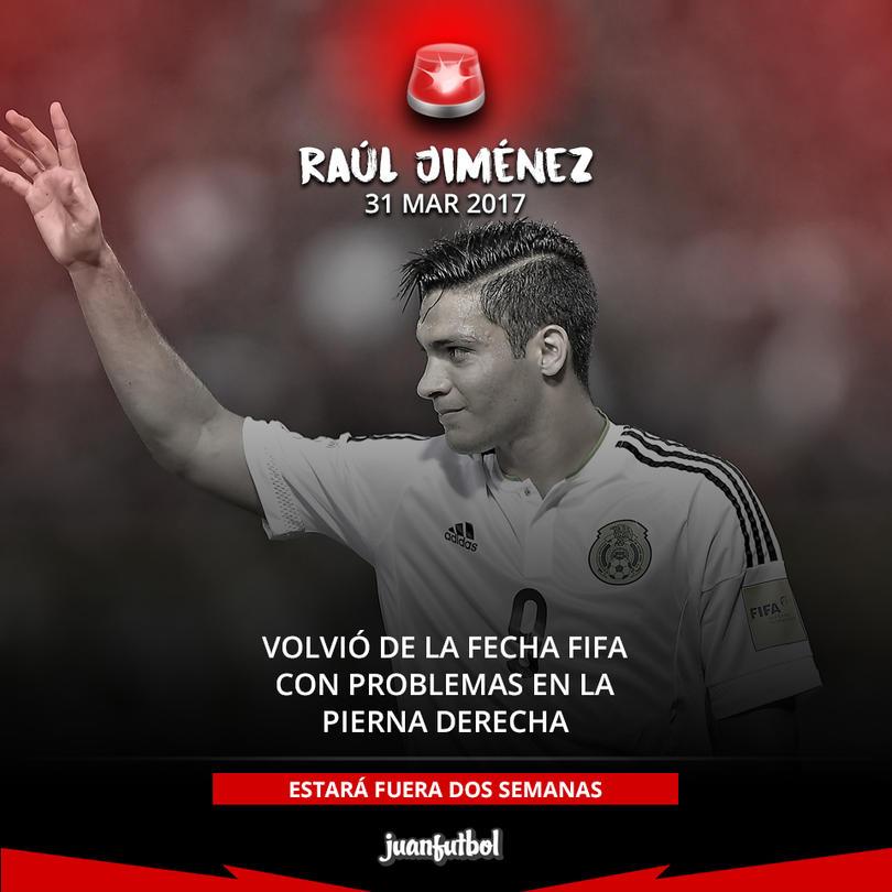 Raúl Jiménez regresó a Portugal con problemas en la pierna derecha