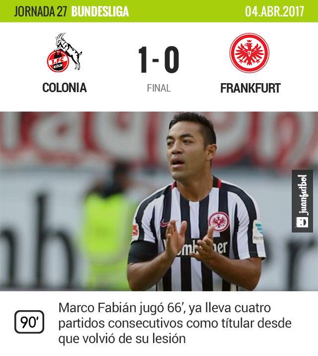 Marco Fabián no logra la victoria de su equipo para puestos de Europa League.
