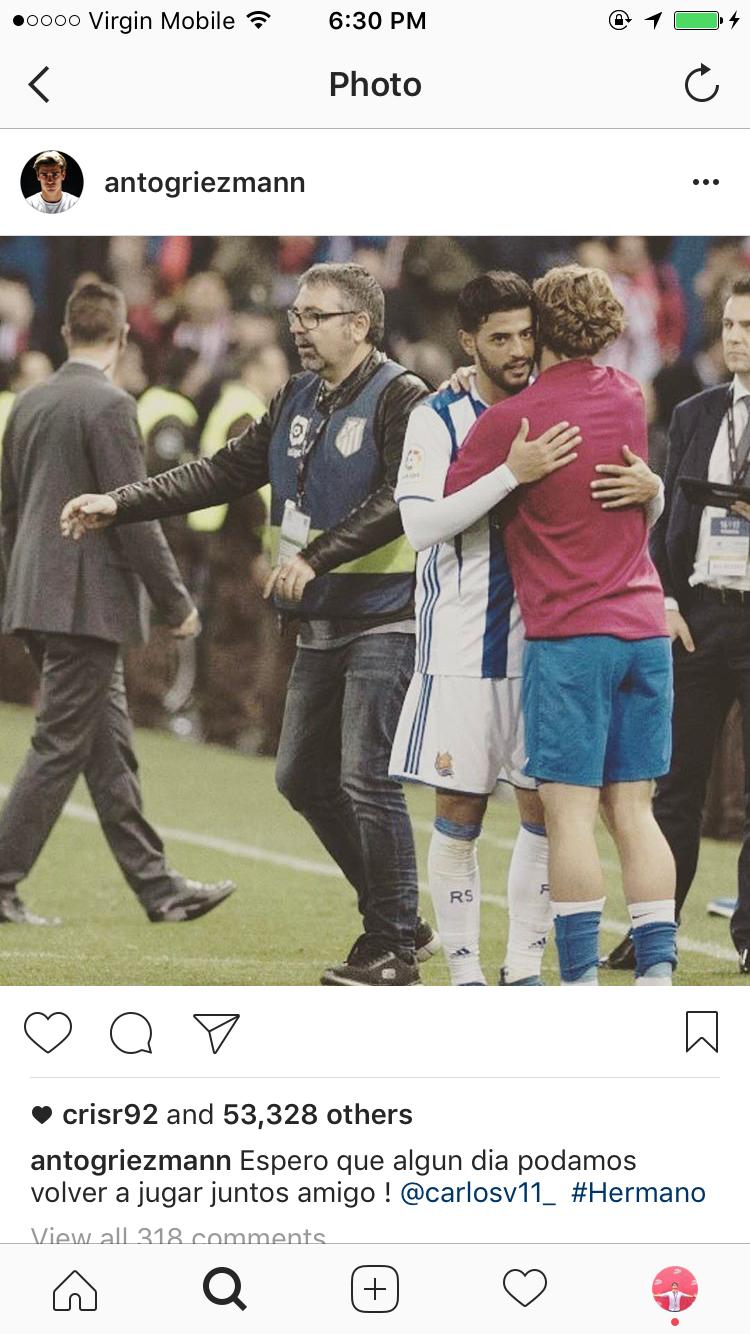 Griezmann quiere volver a jugar junto a Carlos Vela