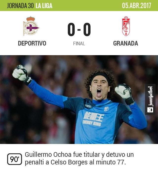 Memo Ochoa detuvo un penalti y evitó la derrota del Granada en Coruña