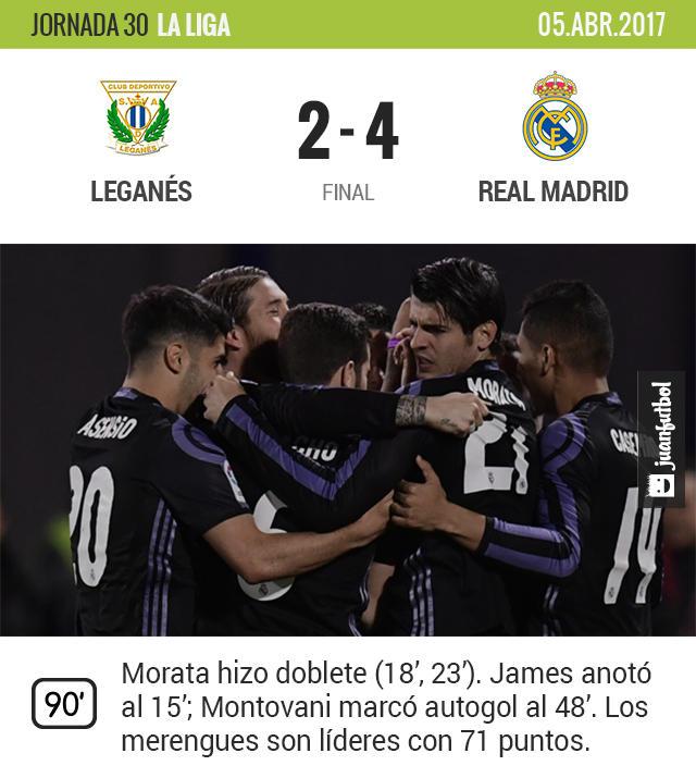 Real Madrid goleó a Leganés y sigue siendo líder