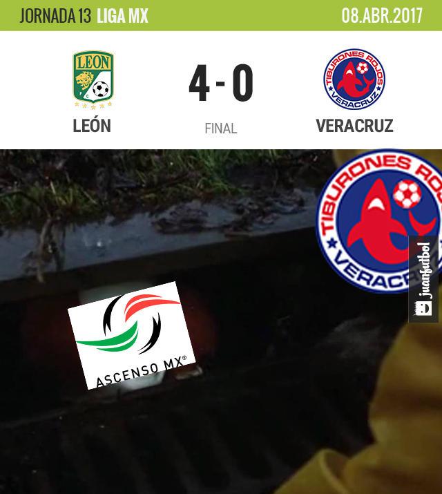 León goleó feo al Veracruz y le dio un empujón al Ascenso