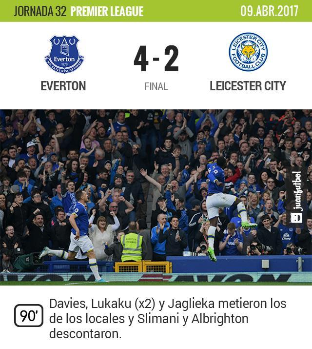 El Everton le rompe la racha de 6 partidos ganando al Leicester