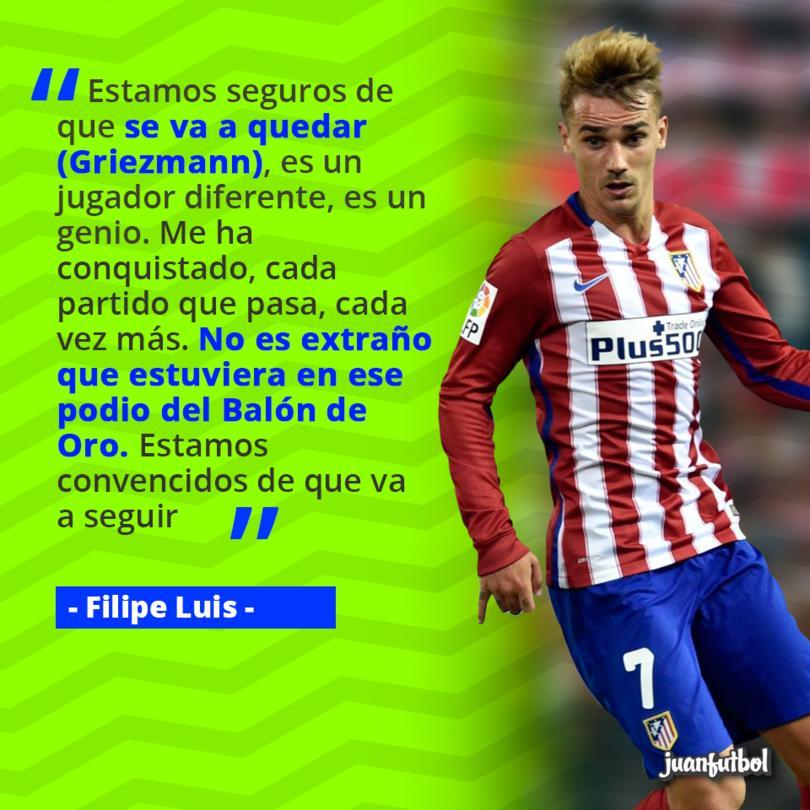 Filipe Luis afirma que Griezmann no se va.