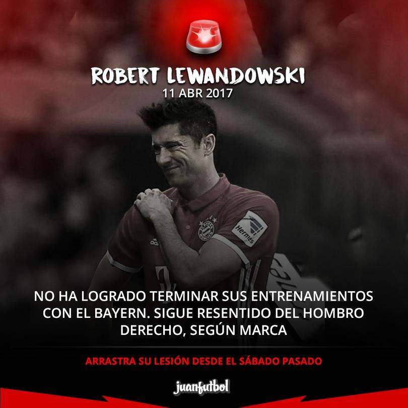 Lewandowski no termina el entrenamiento con el Bayern.