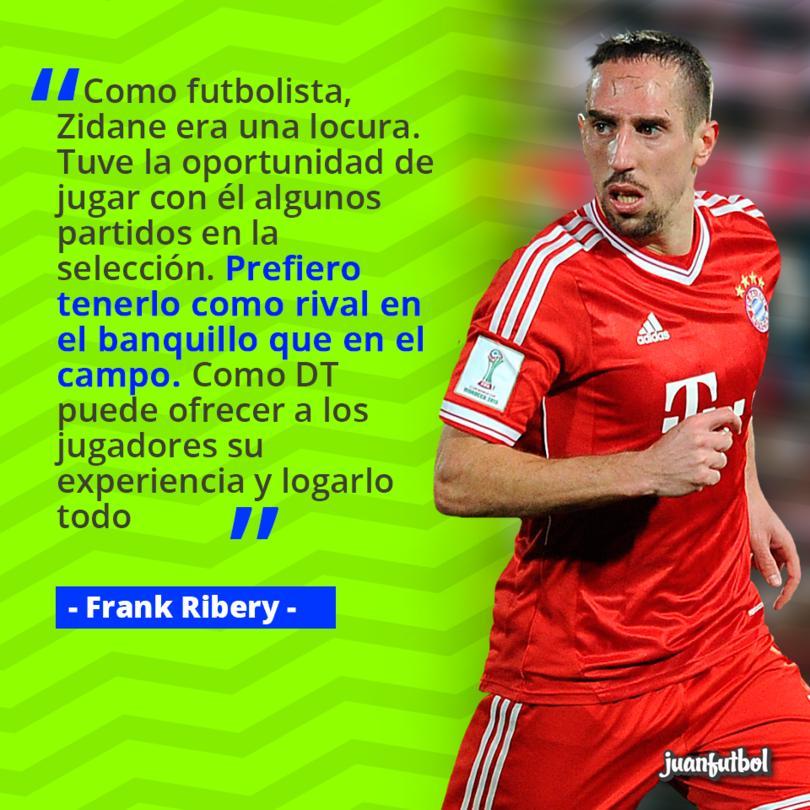 Ribery prefiere tener a Zidane como enemigo en el banquillo que en la cancha.