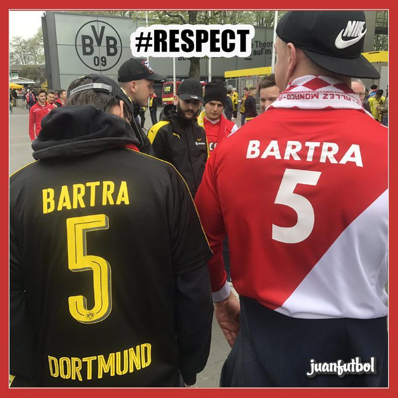 Homenaje a Bartra en el partido pospuesto de Champions.