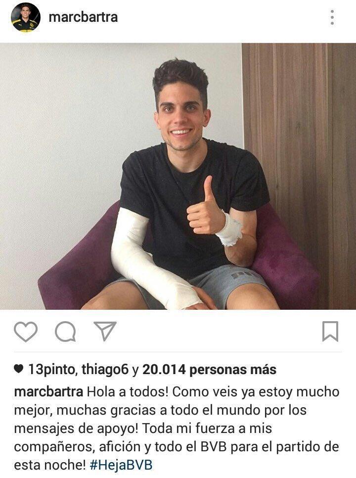 Bartra publica su primer mensaje después del atentado.