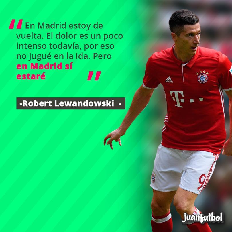 Lewandowski estará de regreso para el partido en Madrid.