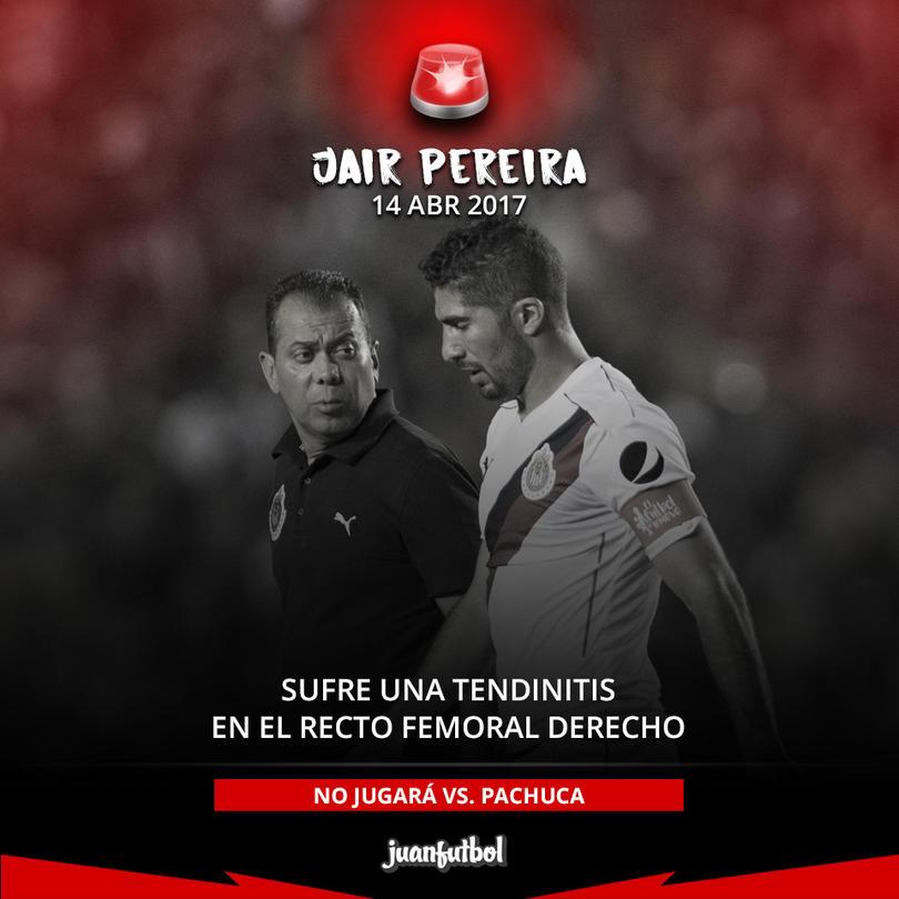 El defensa chiva Jair Pereira sufrió una lesión