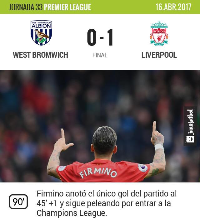 Liverpool gana y sigue en puestos europeos