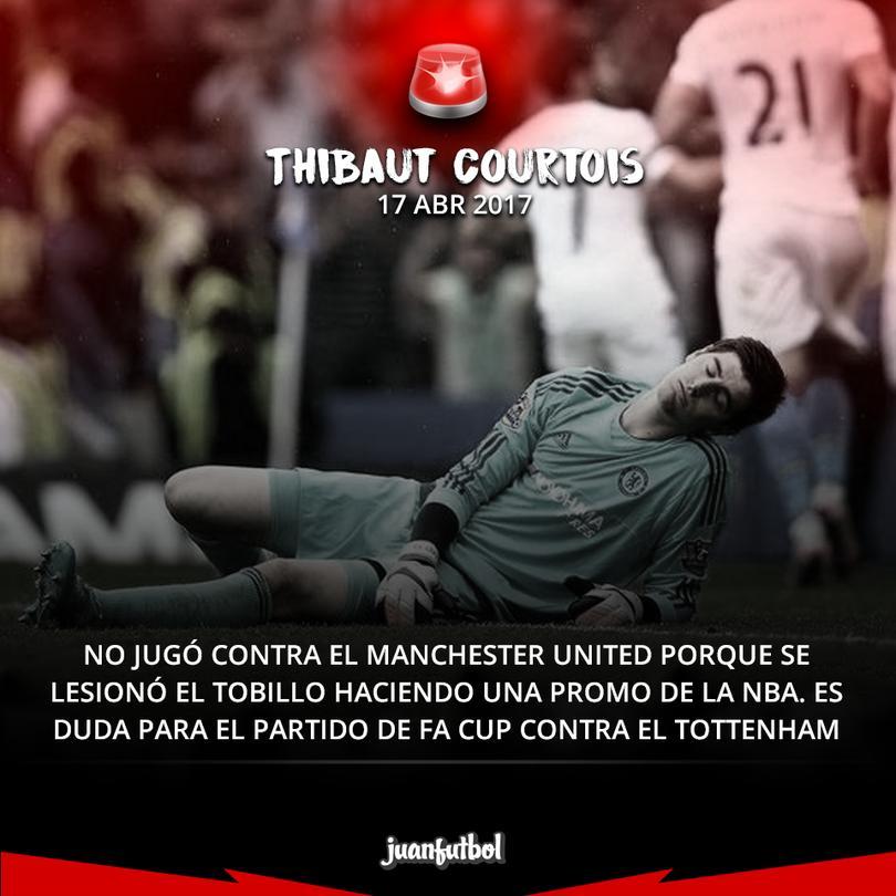 Courtois se lesionó trabajando con un patrocinador.