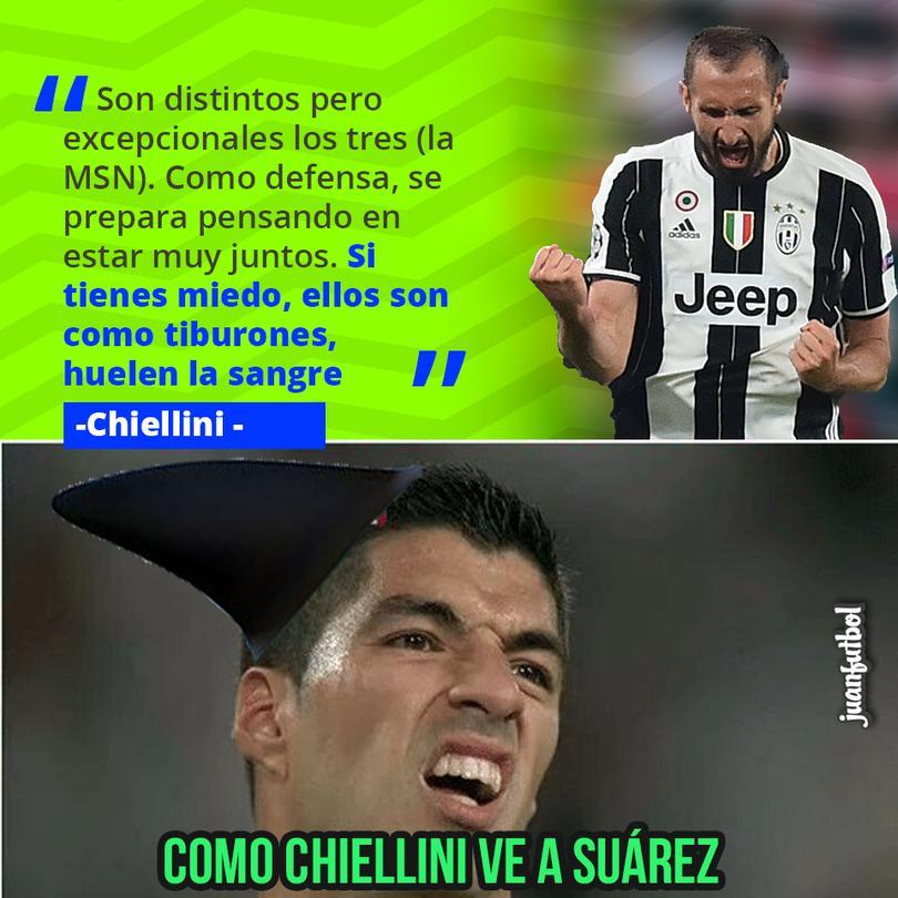 Chiellini compara a la MSN con tiburones