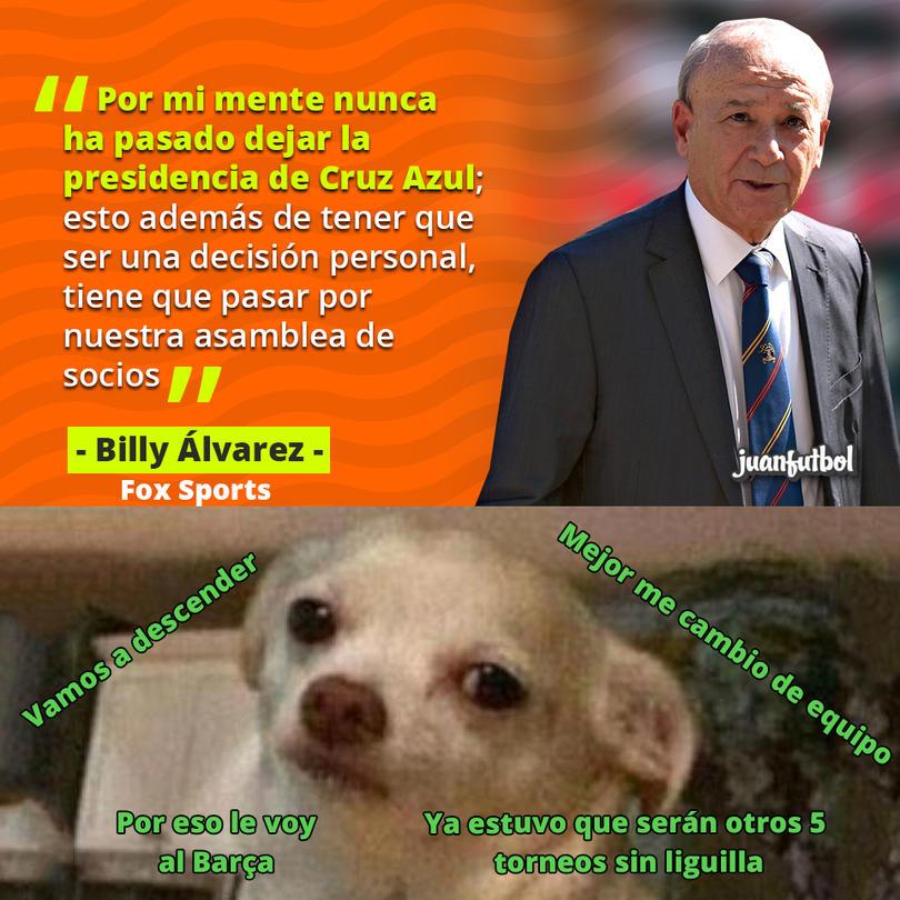 Billy Álvarez dijo que por su mente no ha pasado dejar la directiva de Cruz Azul
