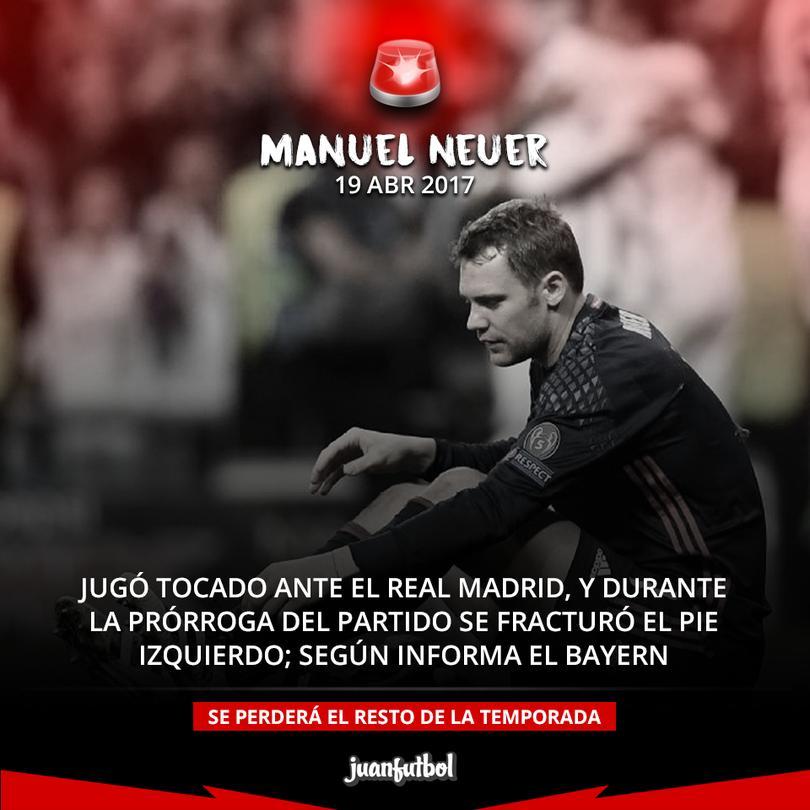Neuer, de baja 8 semanas; se perderá el resto de la temporada