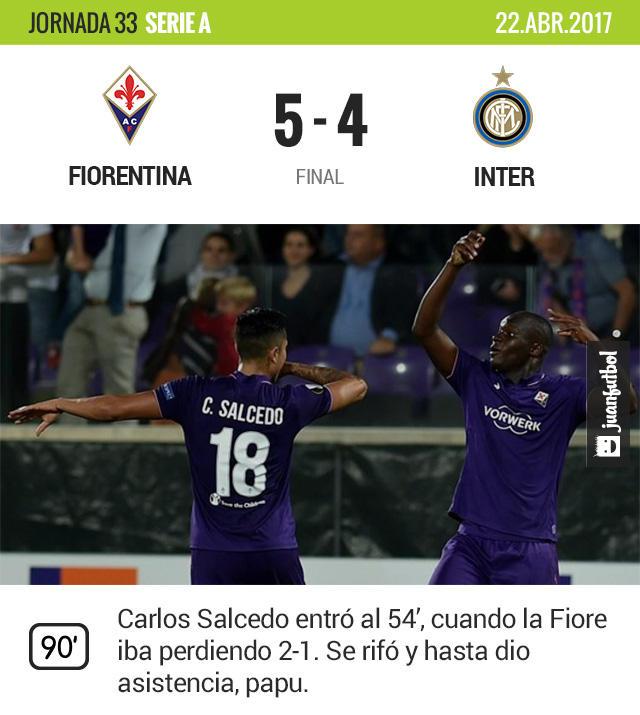 Carlos Salcedo entró cuando la Fiore perdía y acabaron ganando 5-4