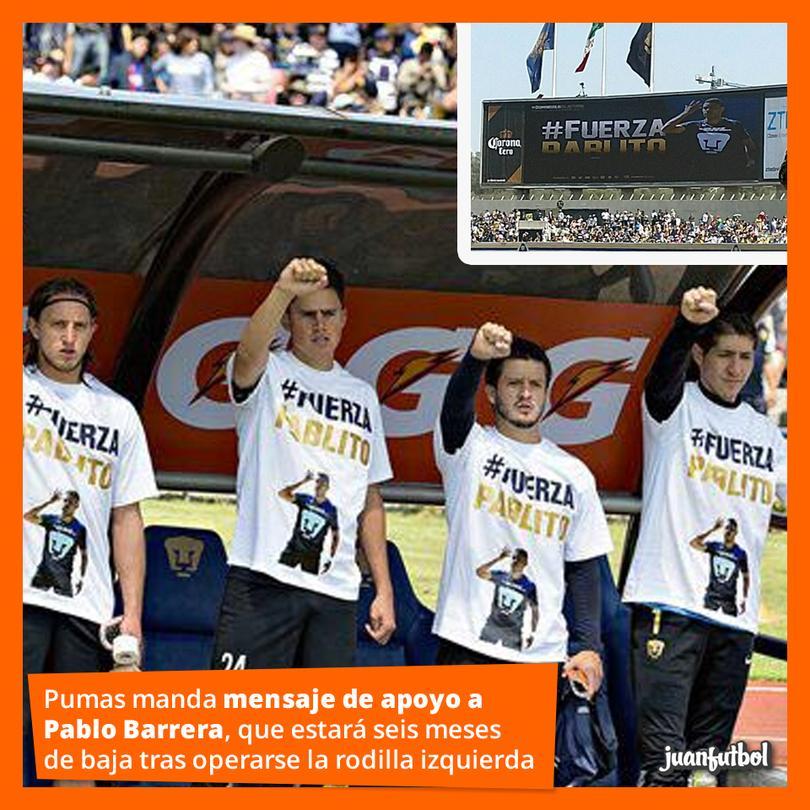 Pumas manda apoyo a Pablo Barrera.