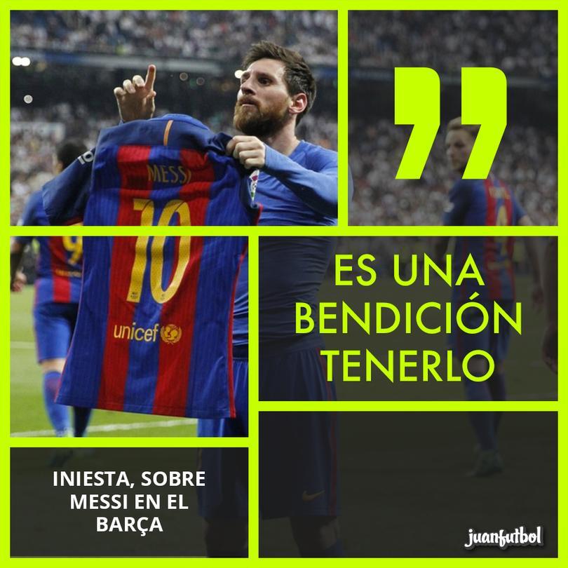 Para Iniesta, tener a Messi es una bendición