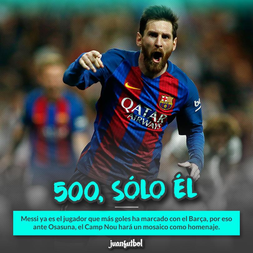 Festejo de Messi tras su gol 500