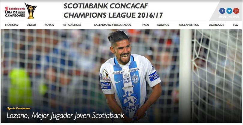 Confunden a Chucky Lozano en la página de CONCACAF.