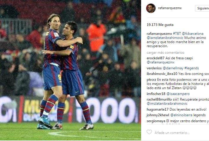 Rafa Márquez se acuerda de Zlatan y le manda ánimos