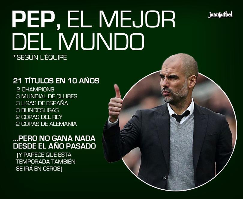 Para L'Équipe, Pep es el mejor entrenador del mundo