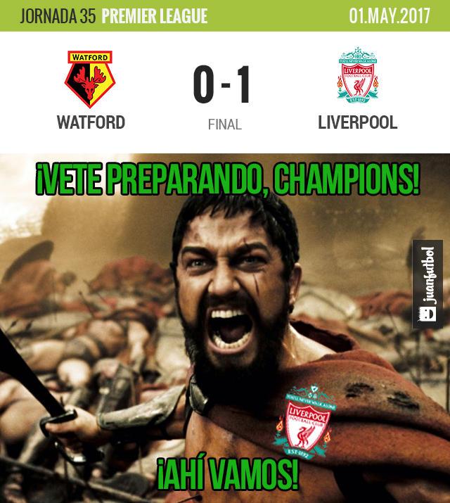 Liverpool venció al Watford y sueña con ir a Champions
