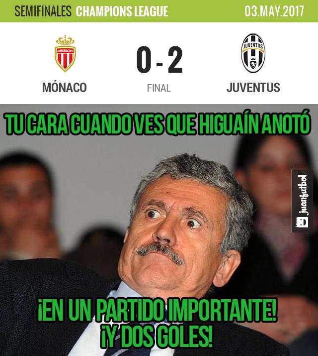 Con dos goles de Higuaín, Juventus venció 2-0 al Mónaco
