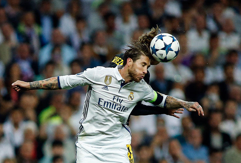 Sergio Ramos en el partido de ida, contra el Atlético de Madrid