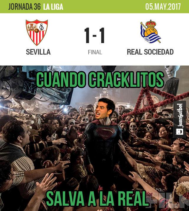 Real Sociedad sacó un punto del Ramón Sánchez Pizjuán con gol de Carlos Vela
