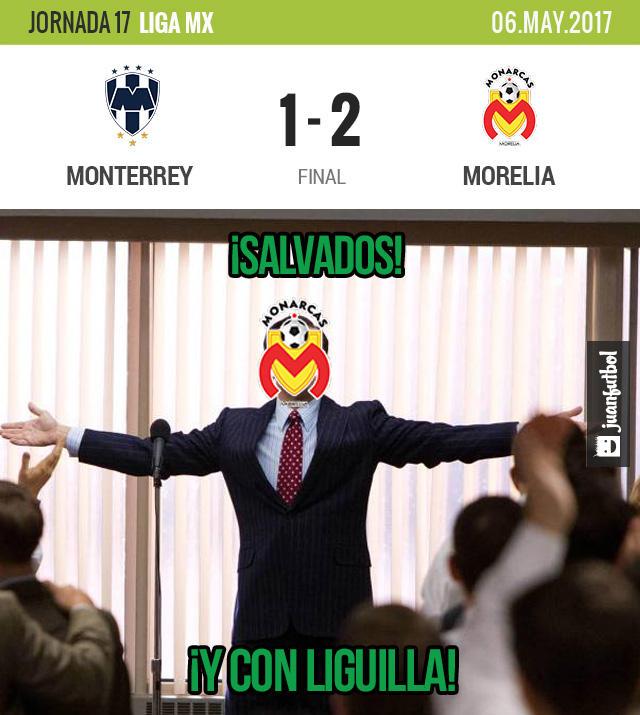 Morelia venció a Rayados, se salvó y avanzó a liguilla