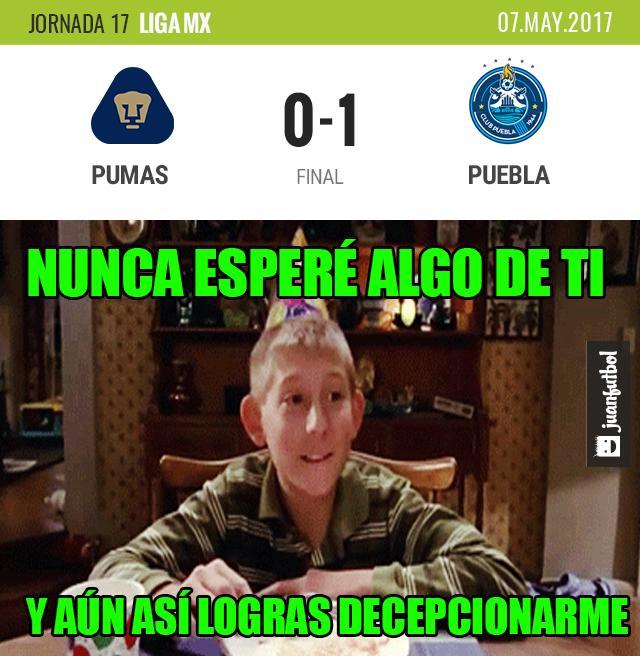 Pumas cae ante Puebla en su último partido.