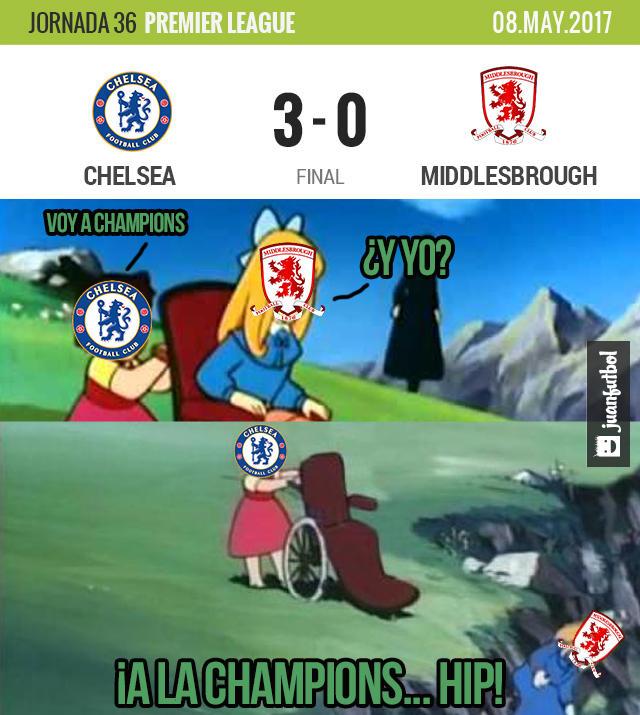 Chelsea le ganó al Middlesbrough y está a una victoria de ganar la Premier