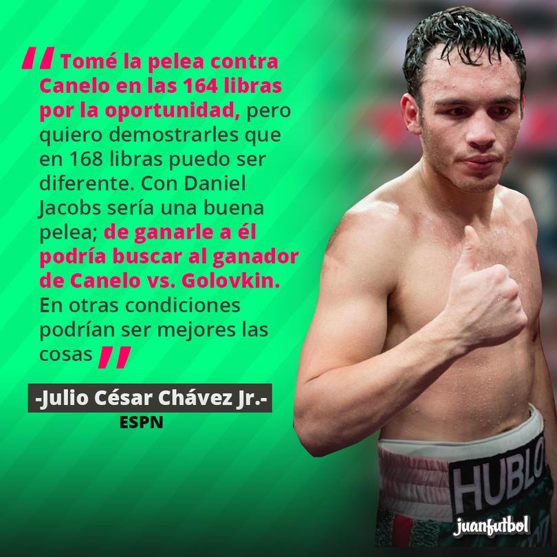 Julio César Chávez Jr. quiere pelear contra Daniel Jacobs para buscar al ganador del choque Canelo vs. Golovkin