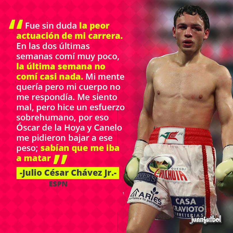 Julio César Chávez Jr. dijo que no comió nada en la última semana para dar el peso para la pelea vs. Canelo