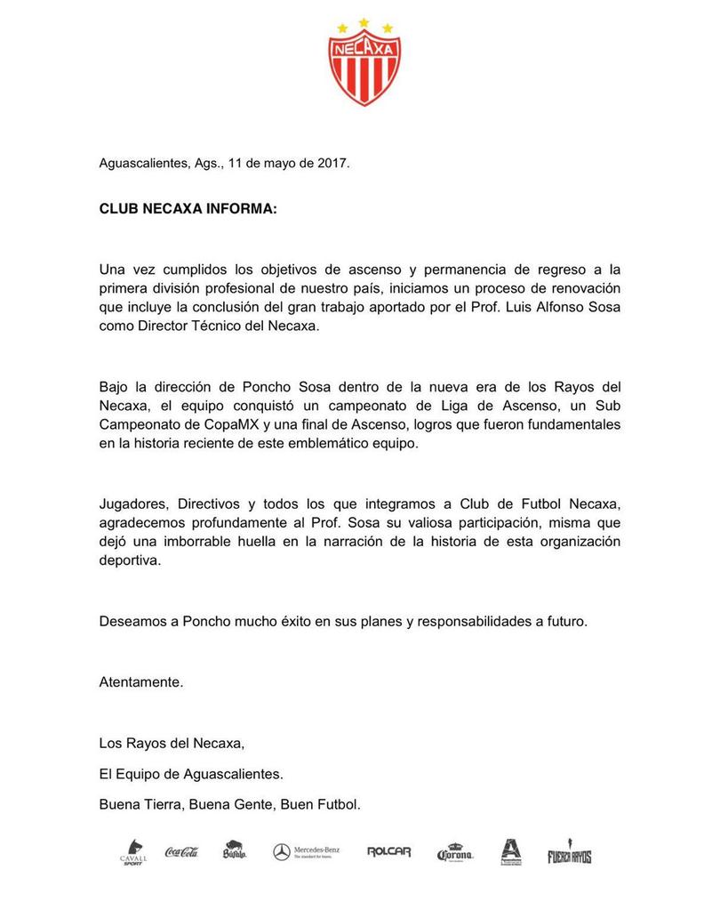 Necaxa anuncia que Sosa se va