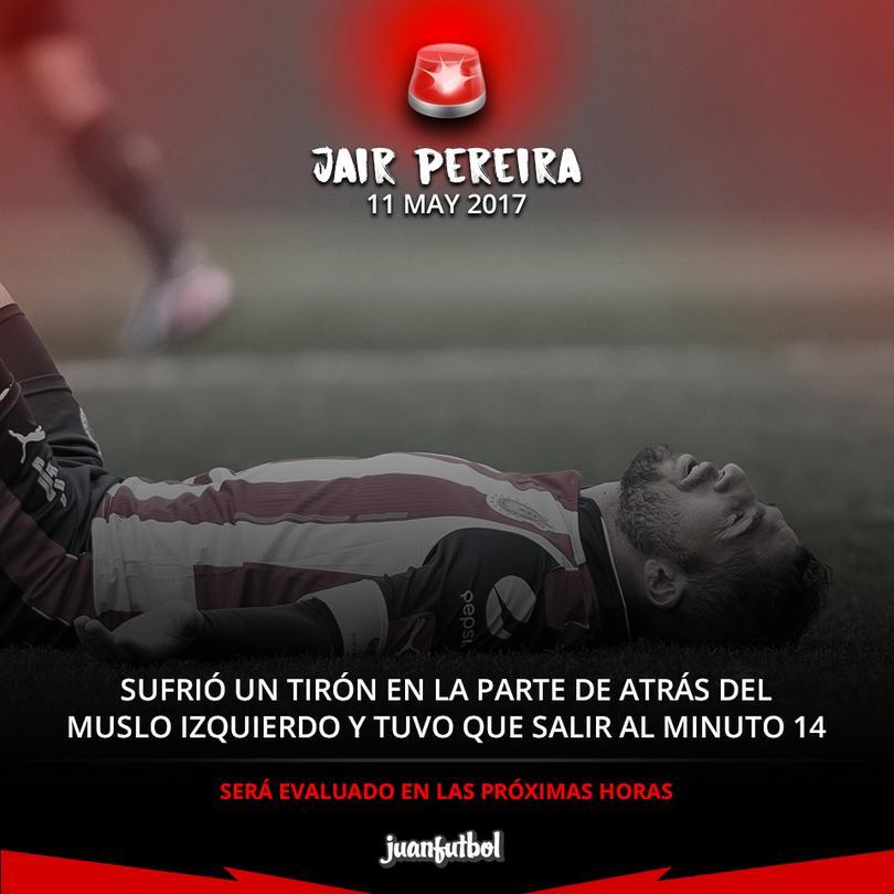 Pereira se lesiona y sale lloranod