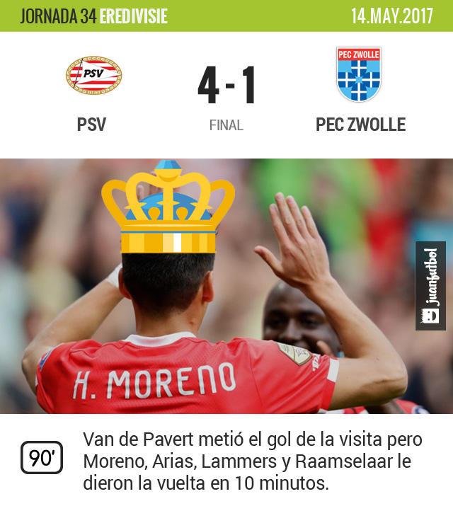 El PSV golea con Moreno y Guardado los 90