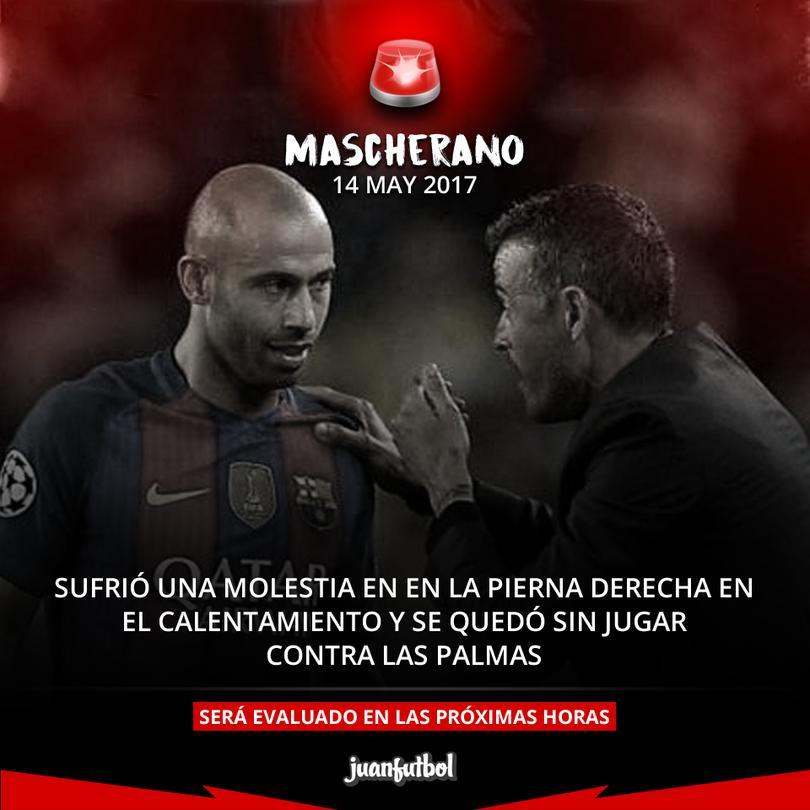 Mascherano se lesiona en el calentamiento y Marlon debuta en La Liga