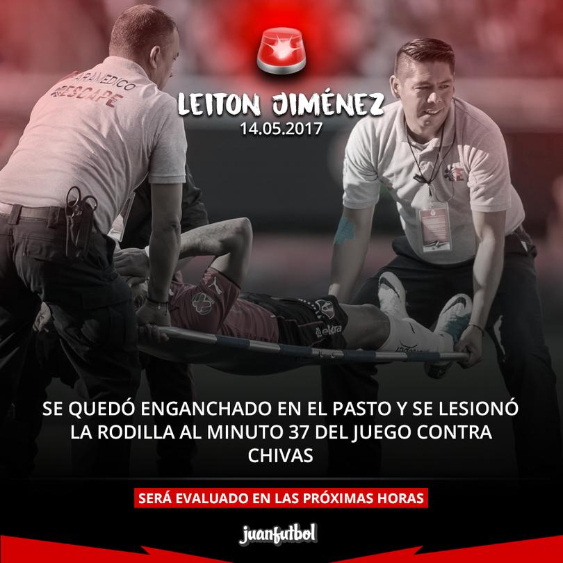 Leiton Jiménez se lesionó.
