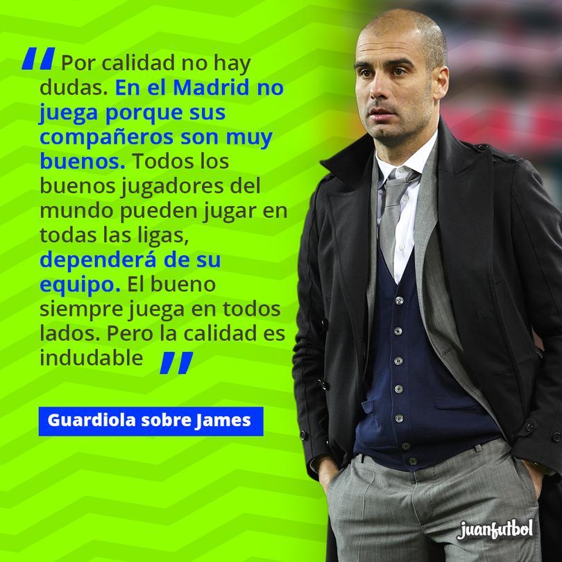 Pep Guardiola afirma que James puede ir a donde quiera porque es un jugador muy bueno.