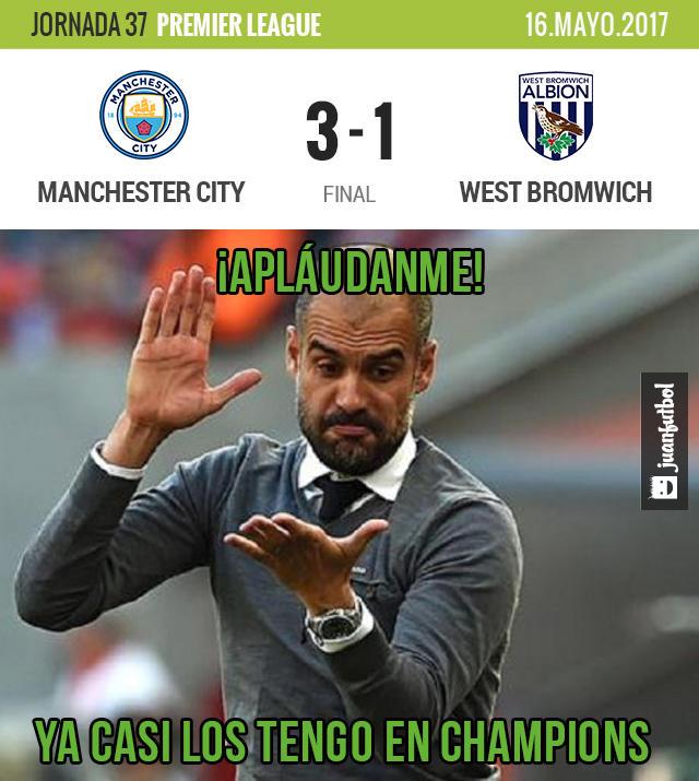 Manchester City está cerca de Champions League luego de ganar al West Bromwich