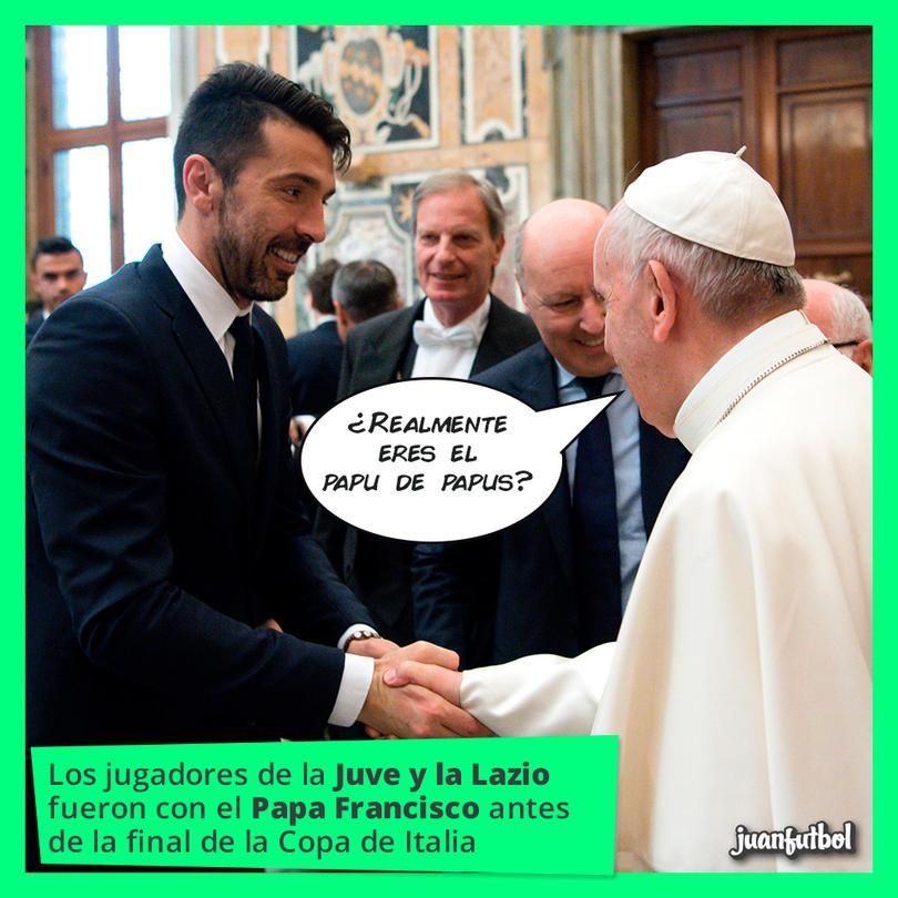 La Juve visitó al Papa Francisco