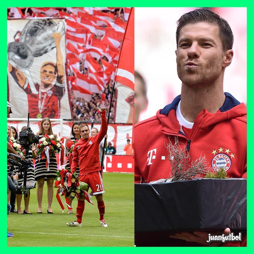 El homenaje del Bayern Munich a Lahm y Xabi Alonso